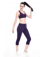 Women's Solid Cotton Capri with Zipper Pocket and Bottom Grip