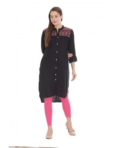 Minelli Women's Cotton Rayon Fabric Long Embroidery Kurti