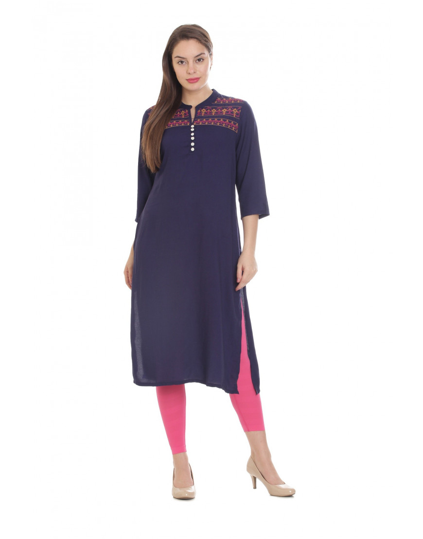 Minelli Women's Cotton Rayon Fabric Long Embroidery Kurti