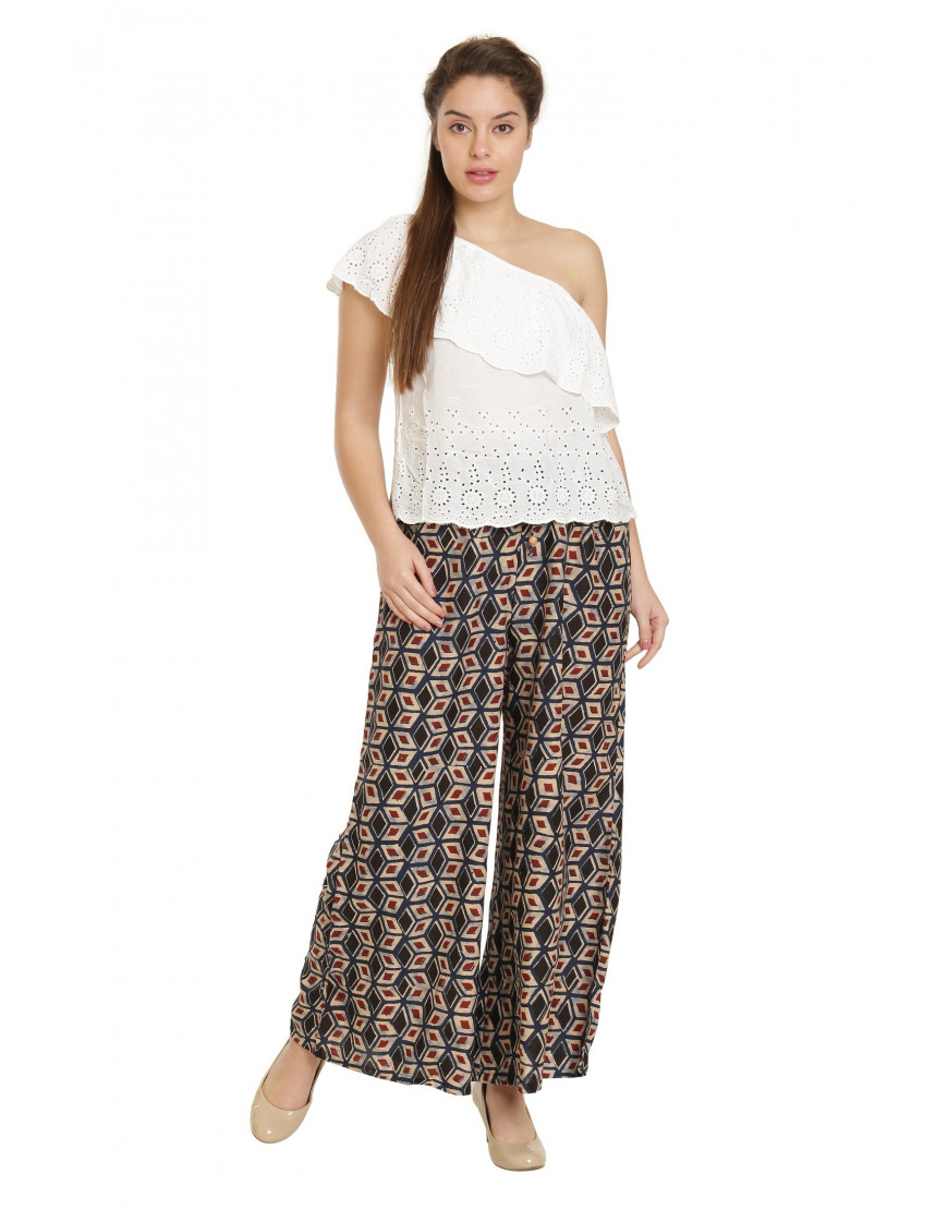 Minelli Women's Free Size Printed Cotton Rayon Palazzo Pant