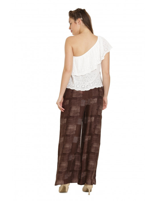 Minelli Women's Free Size Printed Cotton Rayon Palazzo Pant (Maroon)