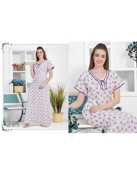 Minelli V-Neck Full Sleeve Cotton Nighties