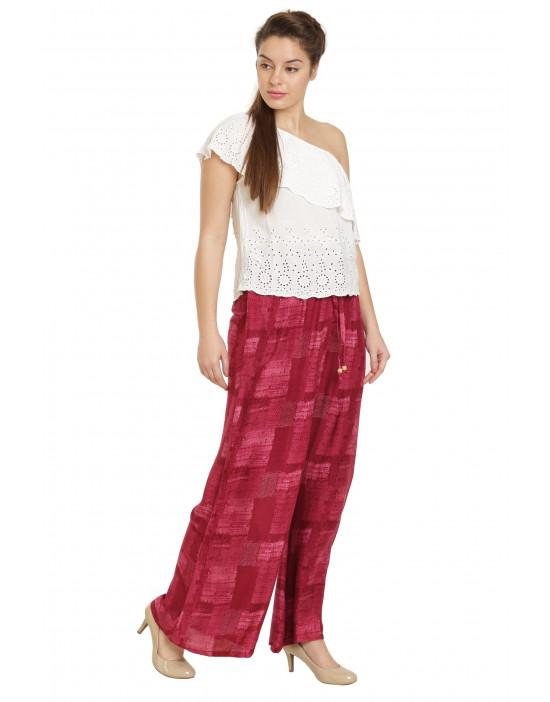 Minelli Women's Free Size Printed Cotton Rayon Palazzo Pant (Peach)