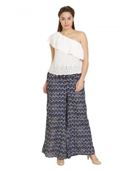 Minelli Women's Free Size Printed Cotton Rayon Palazzo Pant (Purple)