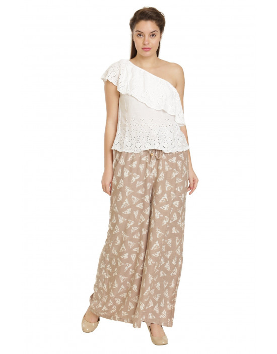 Minelli Women's Free Size Printed Cotton Rayon Palazzo Pant (Off White)