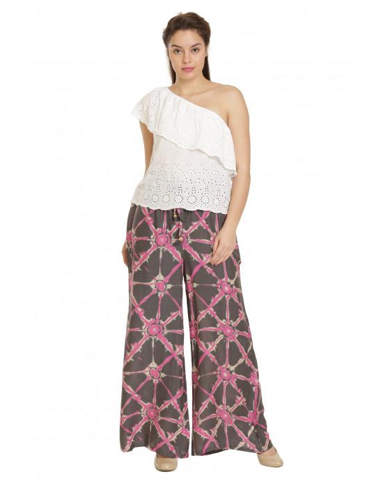 Minelli Free Size Printed Cotton Rayon Palazzo Pant (Pink)