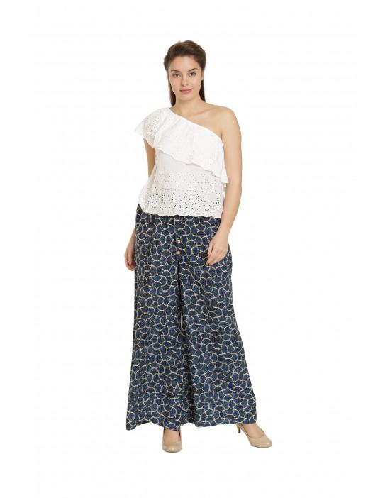 Minelli Printed Cotton Rayon Palazzo Navy Blue Pant