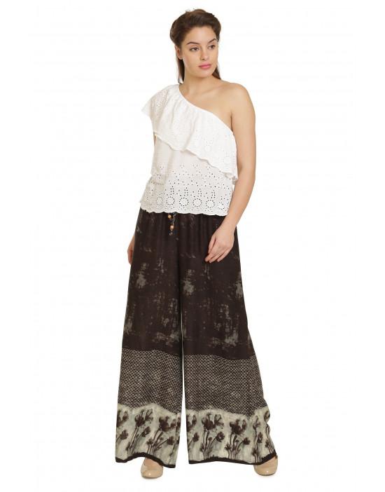 Minelli Women's Free Size Printed Cotton Palazzo Pant (Black)