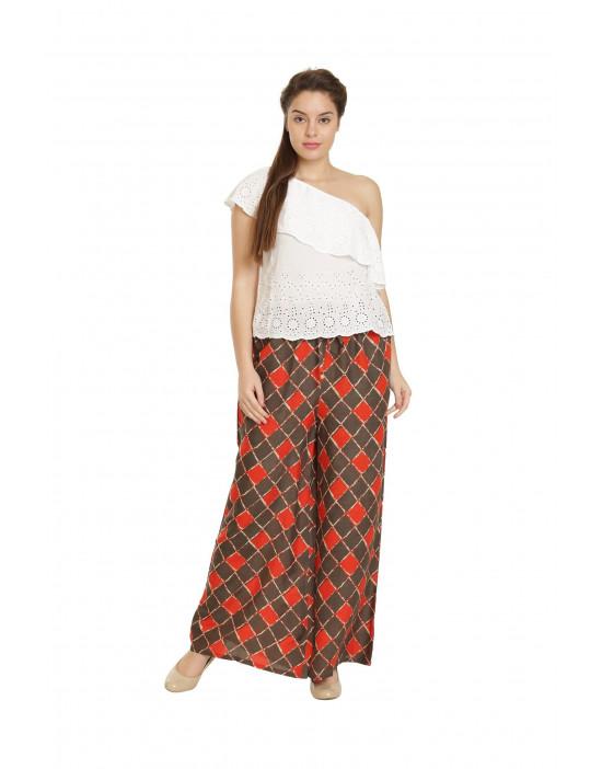Minelli Women's Printed Cotton Rayon Palazzo Orange Pant