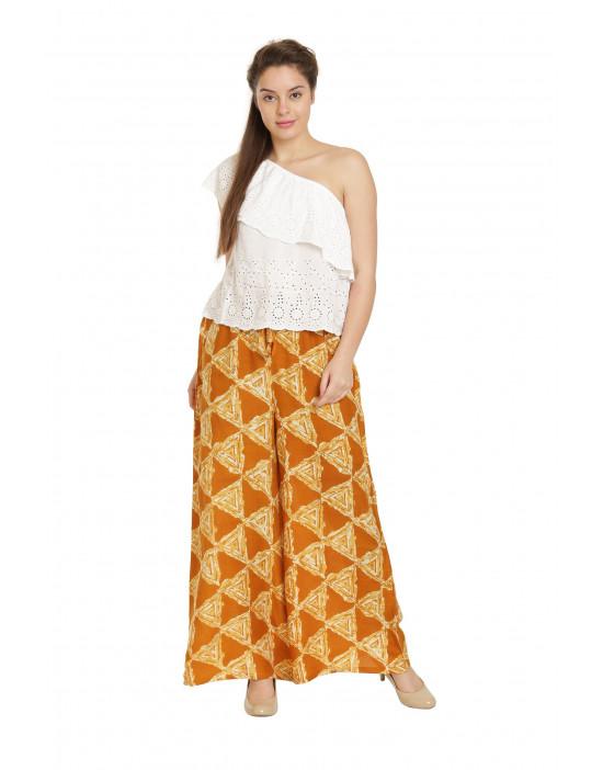 Minelli Women's Free Size Printed Cotton Rayon Palazzo Pant (Yellow)