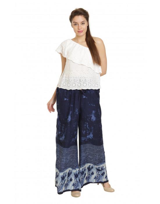 Minelli Free Size Printed Cotton Rayon Palazzo Dark Blue Pant