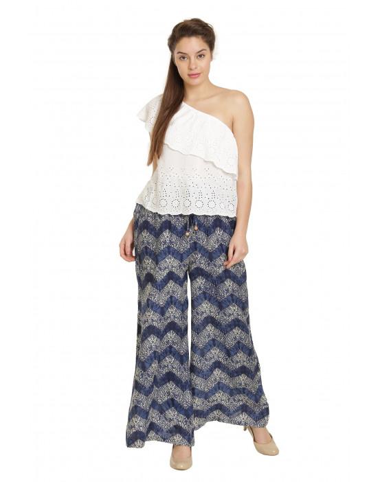 Minelli Free Size Cotton Rayon Palazzo Royal Blue Pant