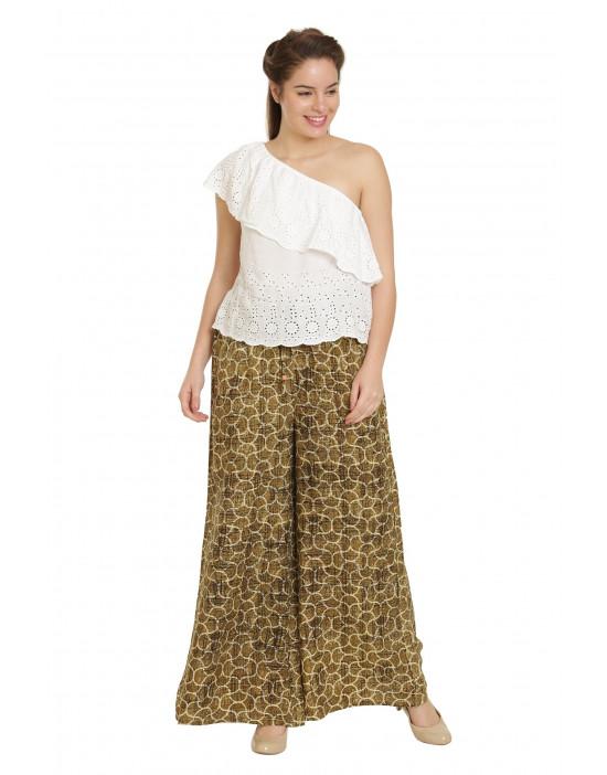 Minelli Women's Free Size Printed Cotton Rayon Palazzo Green Pant