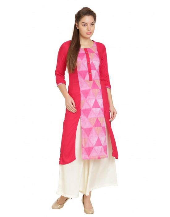 Minelli Ethnic Wear Kurti Cotton Rayon Fabric Kurti