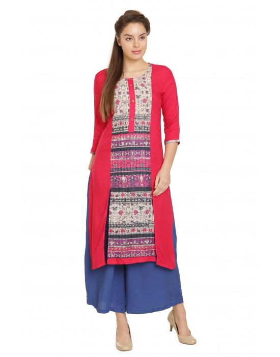 Minelli Women Knee Length Rayon Fabric Kurti