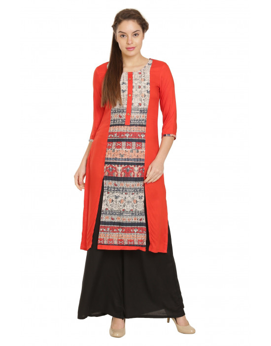 Minelli Knee Length Cotton Rayon Fabric Kurti