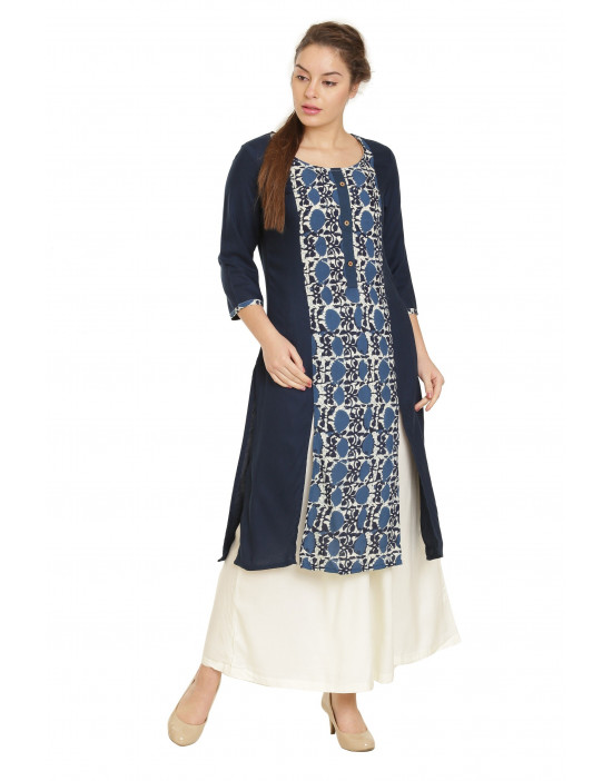 Minelli Sweetheart Knee Length Cotton Rayon Kurti