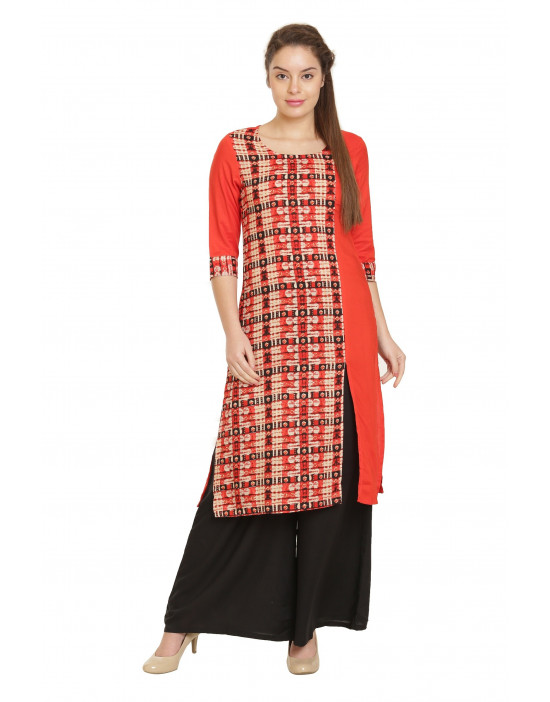 Minelli Round Neck Cotton Rayon Fabric Printed Kurti