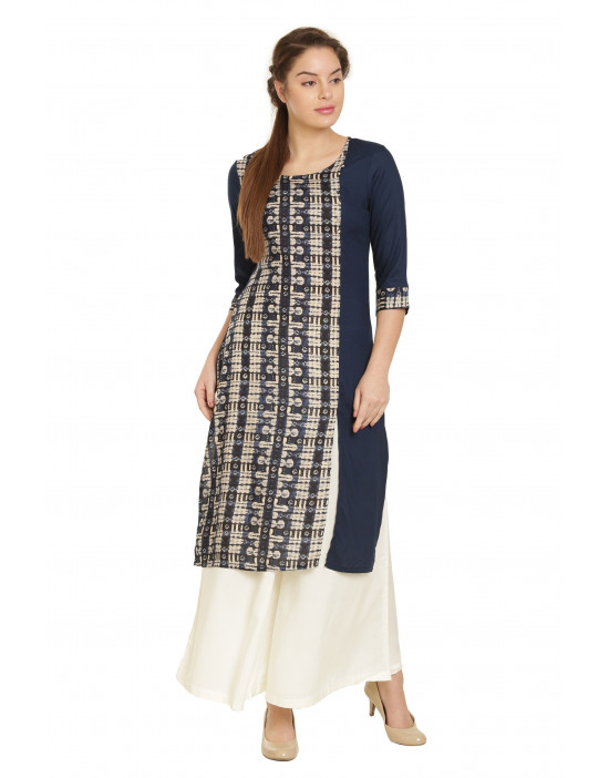 Minelli Round Neck Knee Length Fabric Printed Kurti