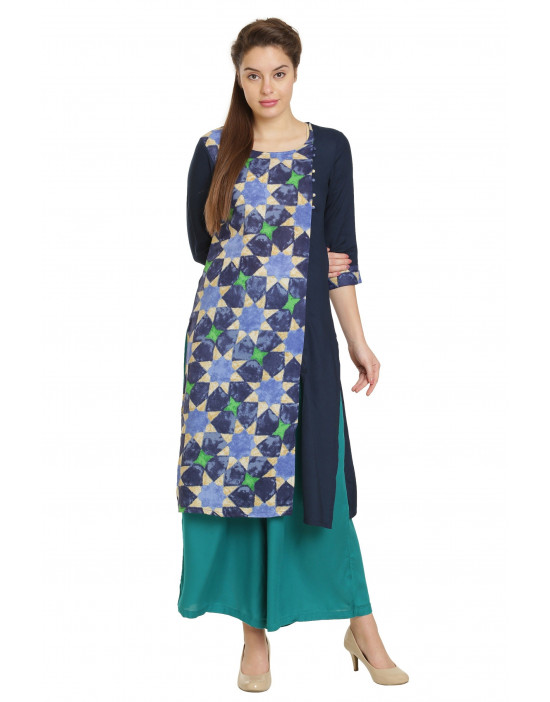 Minelli Knee Length Cotton Rayon Fabric Printed Kurti