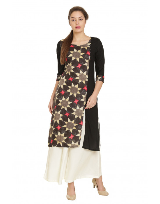 Minelli Womens Beautiful Cotton Rayon Fabric Printed Kurti