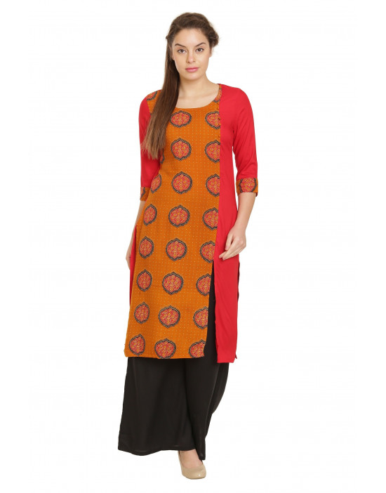 Minelli Sleeve and Round Neck Cotton Rayon Fabric Printed Kurti