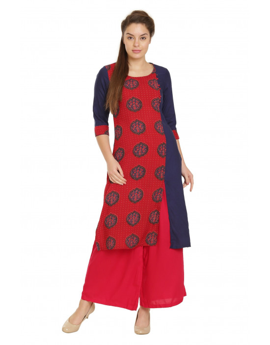 Minelli Women's Cotton Rayon Fabric Printed Kurti