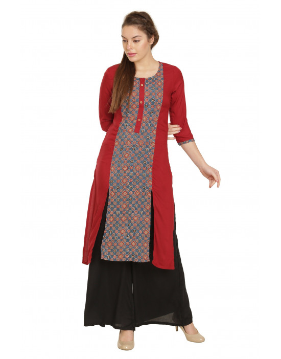 Minelli Beautiful Ethnic Rayon Fabric Kurti