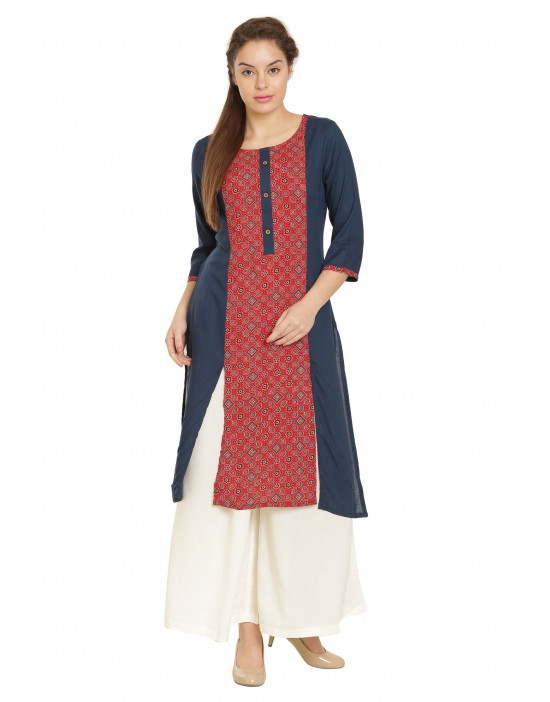 Minelli Rayon Fabric Printed Cotton Kurti