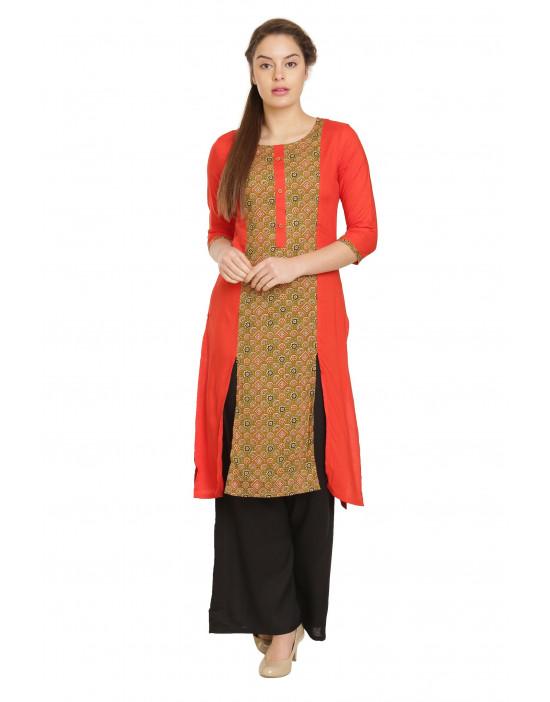 Minelli Women Cotton Rayon Fabric Printed kurti
