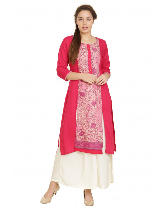 Minelli Round Neck 3/4 Sleeve Cotton Kurti
