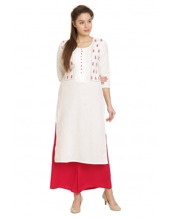 Minelli Round Neck Rayon Cotton Printed Kurti