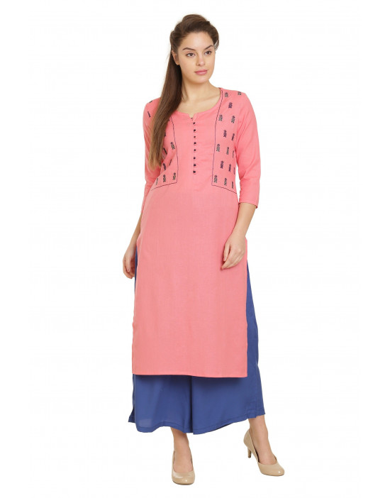 Mineeli 3/4 Sleeve Rayon Cotton Printed Kurti