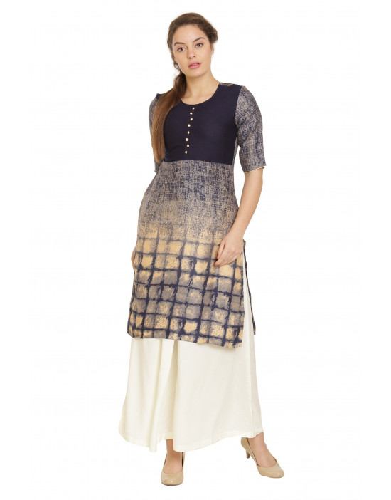 Minelli 3/4 Sleeve and Round Neck Cotton Kurti