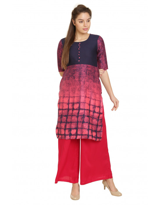 Minelli 3/4 Sleeve Keen Length Fabric Cotton Kurti