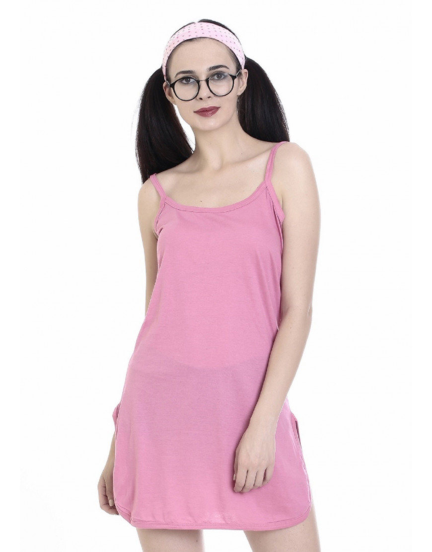 Womens Cotton Fabric Midi Slip - Narrow Strap