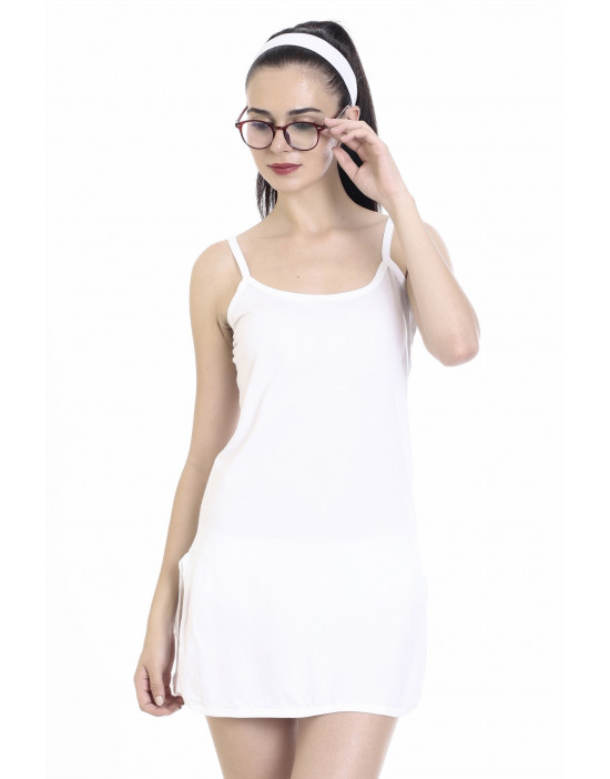 Womens Short Nighty Cotton Fabric Midi Slip - Narrow Strap