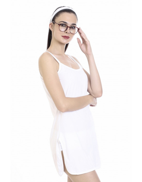 Womens Cotton Fabric Midi Slip - Narrow Strap