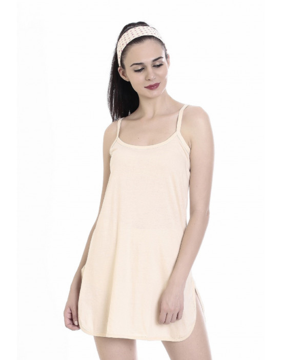 Womens Short Nighty Cotton Midi Slip - Narrow Strap
