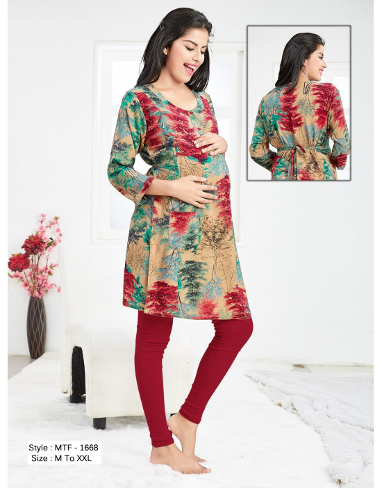 Minelli Pre & Post Pregnancy Kurti With Vertical Zipper