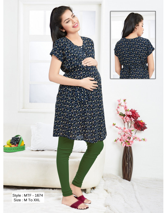 Minelli Maternity/Nursing/Feeding Kurti with Vertical Zipper