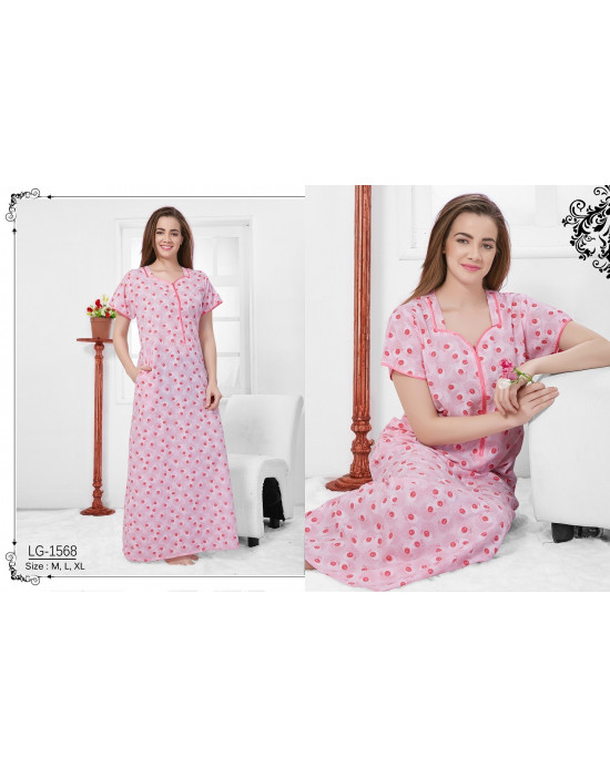 6bc41c9341 V-Neck With Front Top Button Printed Alpine Nighty - Goldstroms
