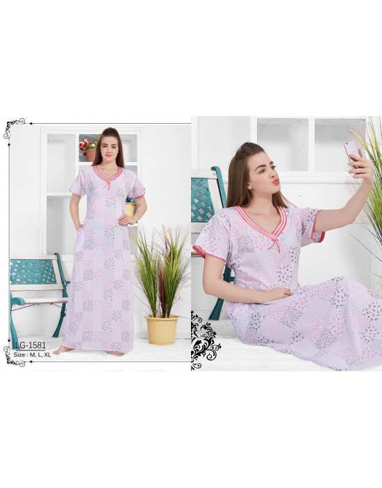 Minelli Beautiful Embroidered Neckline Cotton Nighties