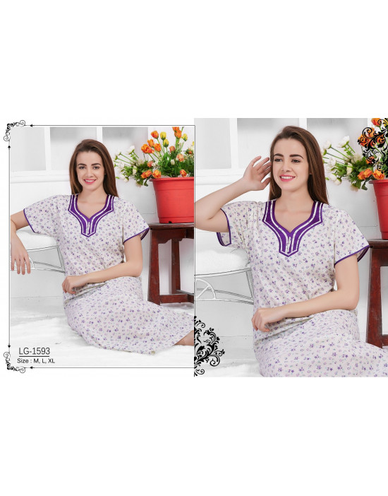 Minelli Beautiful Embroidered neckline Cotton Nighties