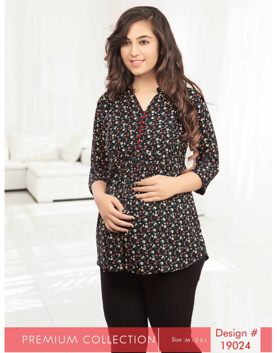 Minelli Maternity/Nursing Multicolor Short Kurti
