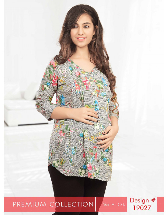 Minelli V-Neck Maternity/Feeding Short Kurtis