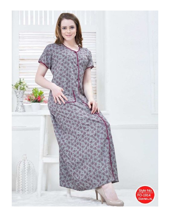 Minelli Soft Rayon Fabric Full Front Open Nighty - Goldstroms de79ea62a