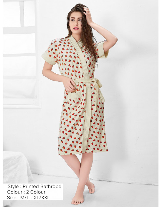 Women's Turkish Cotton Watermelon Printed Bathrobe