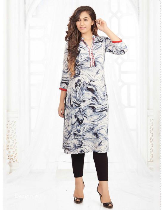 Minelli 3/4 Sleeve and Sweetheart Neck Rayon Fabric Kurti