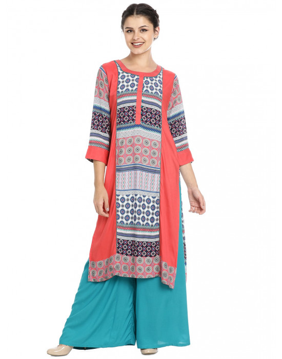 Minelli Cotton Rayon Fabric Printed Kurtis for Women